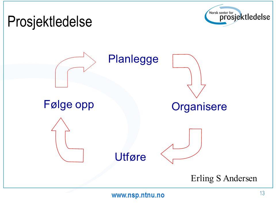 Prosjektledelse Planlegge Følge opp Organisere Utføre