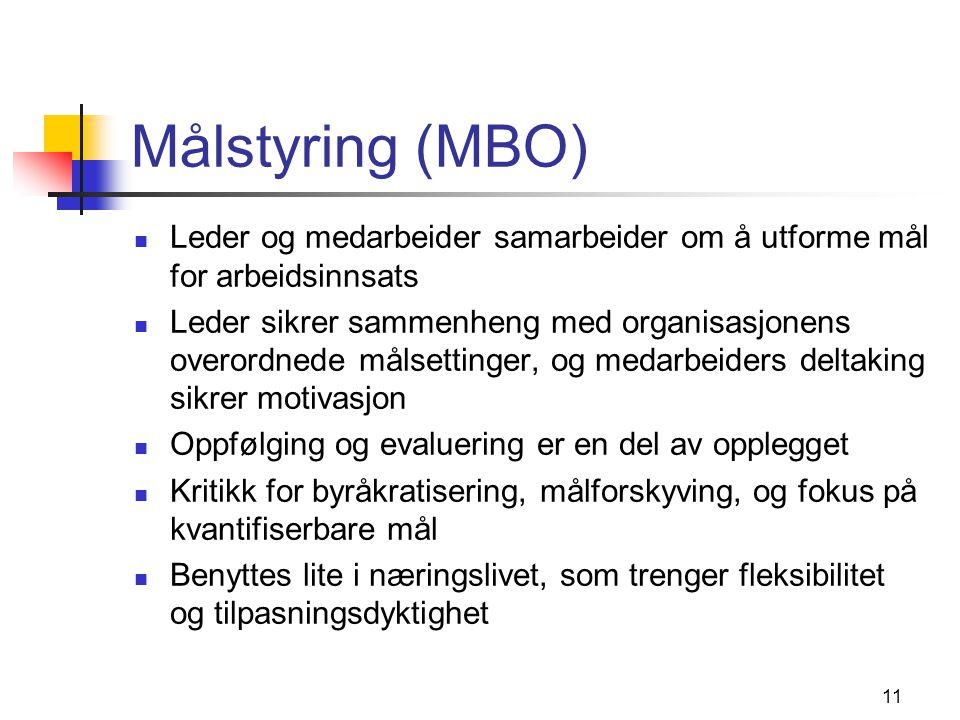 Målstyring (MBO) Leder og medarbeider samarbeider om å utforme mål for arbeidsinnsats.