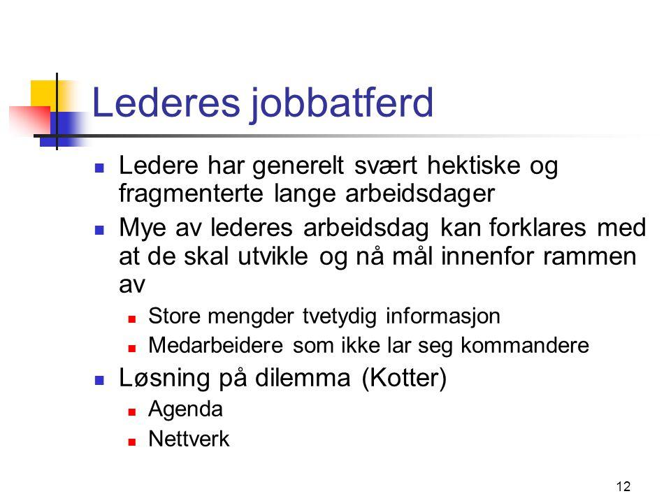 Lederes jobbatferd Ledere har generelt svært hektiske og fragmenterte lange arbeidsdager.