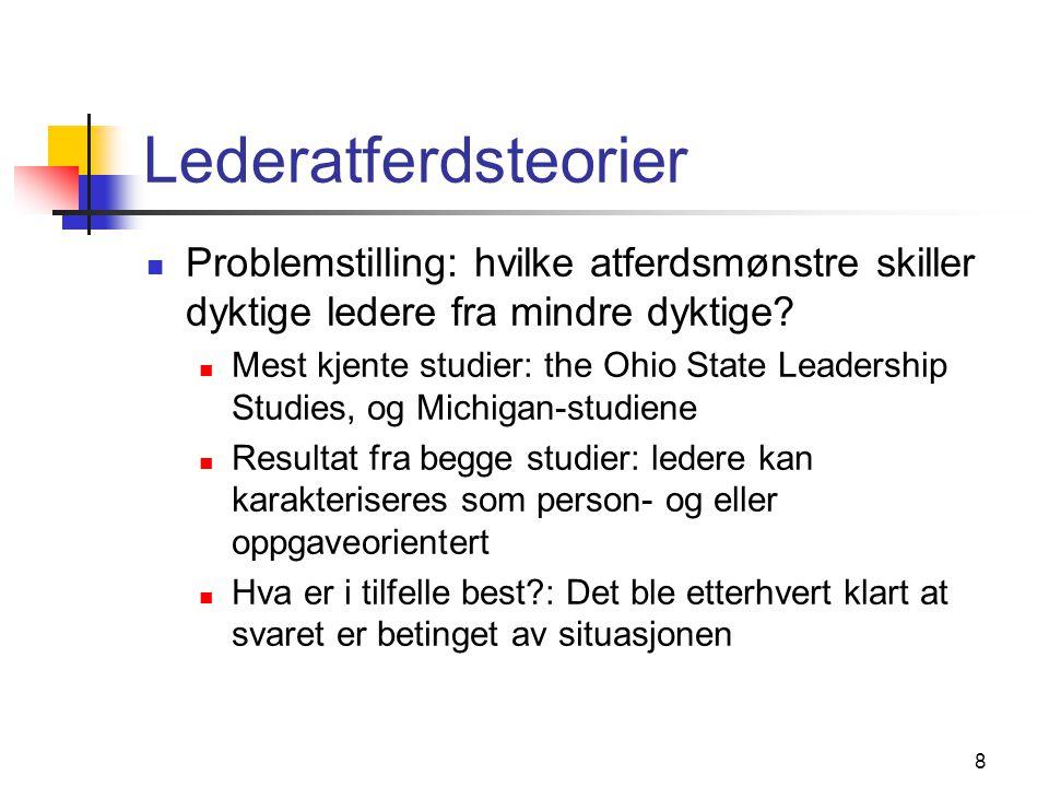 Lederatferdsteorier Problemstilling: hvilke atferdsmønstre skiller dyktige ledere fra mindre dyktige