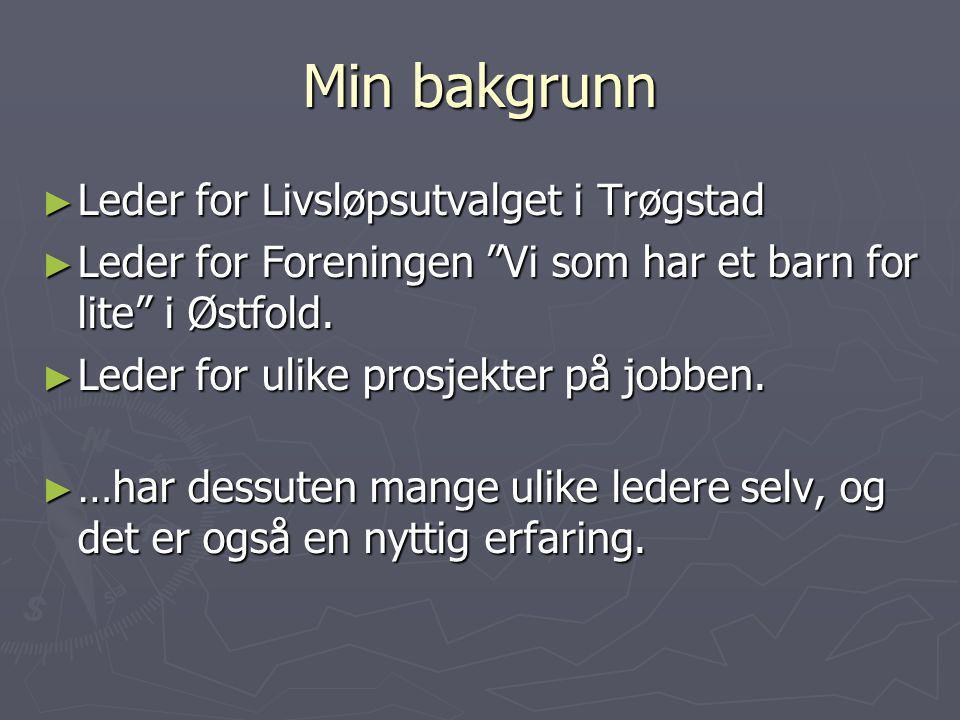 Min bakgrunn Leder for Livsløpsutvalget i Trøgstad