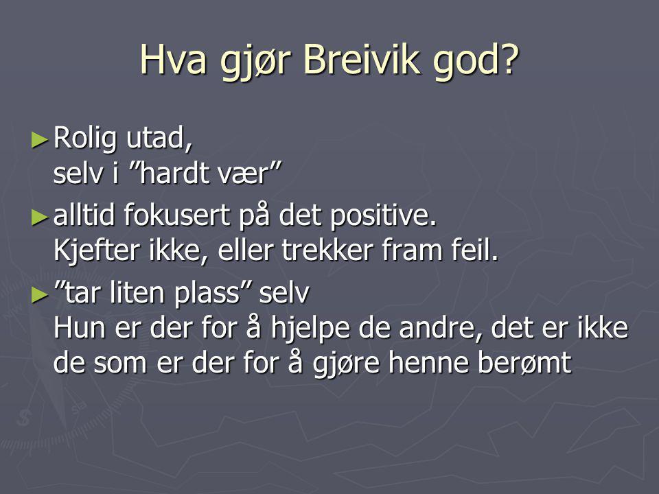 Hva gjør Breivik god Rolig utad, selv i hardt vær