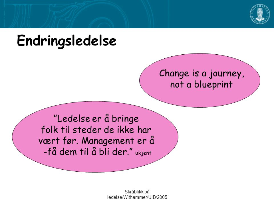 Endringsledelse Change is a journey, not a blueprint