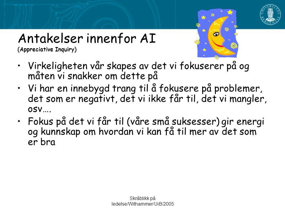 Antakelser innenfor AI (Appreciative Inquiry)
