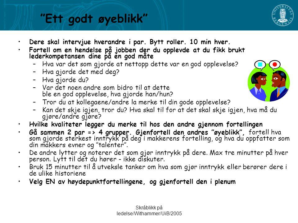 Skråblikk på ledelse/Withammer/UiB/2005
