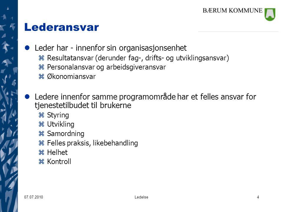 Lederansvar Leder har - innenfor sin organisasjonsenhet
