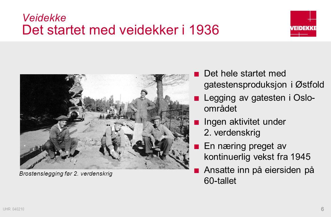 Veidekke Det startet med veidekker i 1936