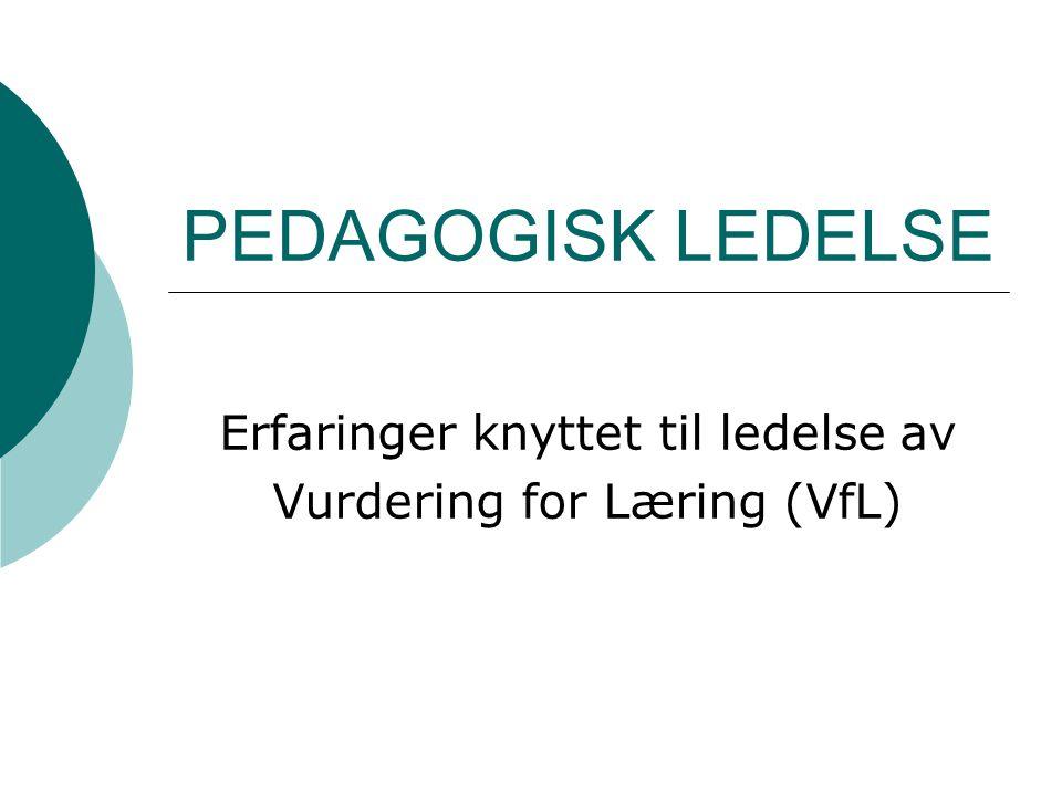 Erfaringer knyttet til ledelse av Vurdering for Læring (VfL)