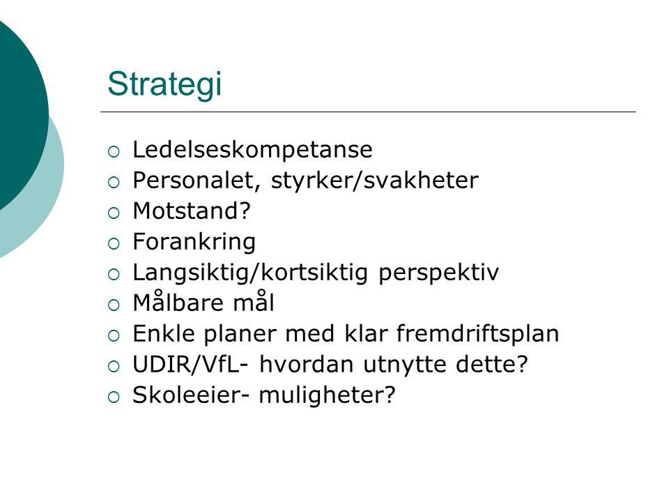 Strategi Ledelseskompetanse Personalet, styrker/svakheter Motstand