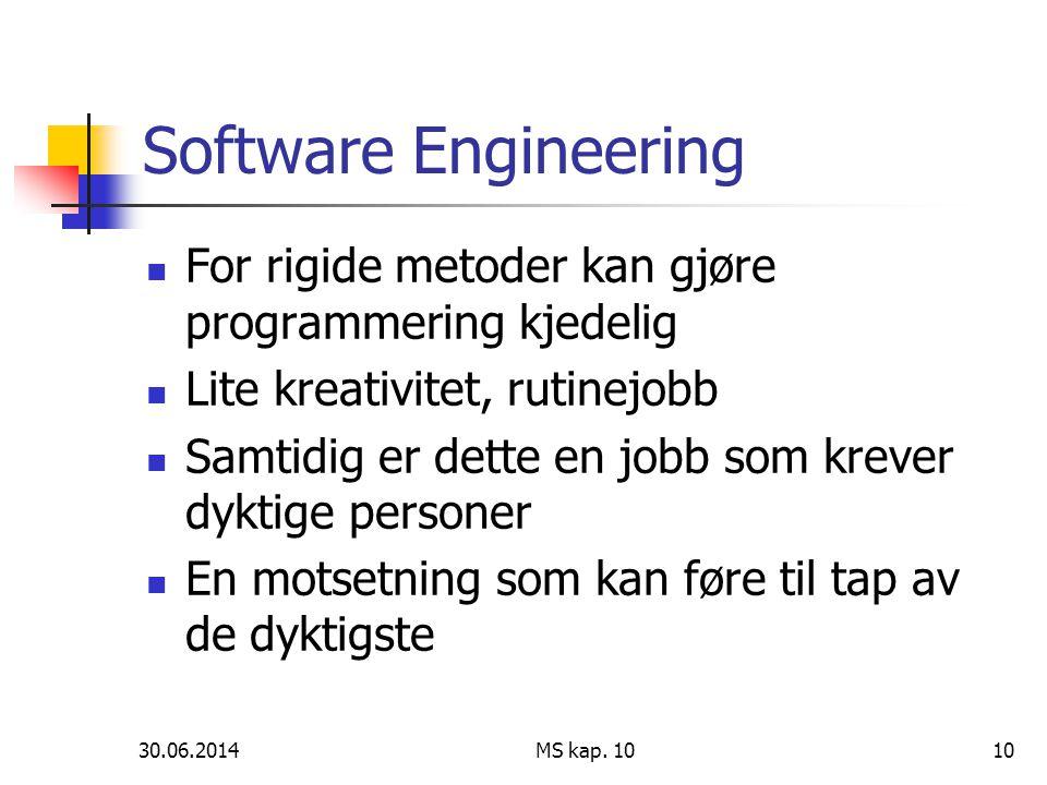 Software Engineering For rigide metoder kan gjøre programmering kjedelig. Lite kreativitet, rutinejobb.