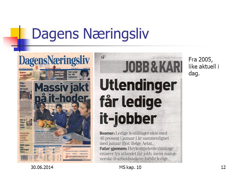 Dagens Næringsliv Fra 2005, like aktuell i dag. 03.04.2017 MS kap. 10