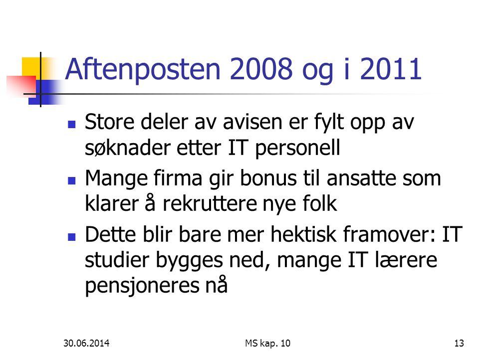 Aftenposten 2008 og i 2011 Store deler av avisen er fylt opp av søknader etter IT personell.