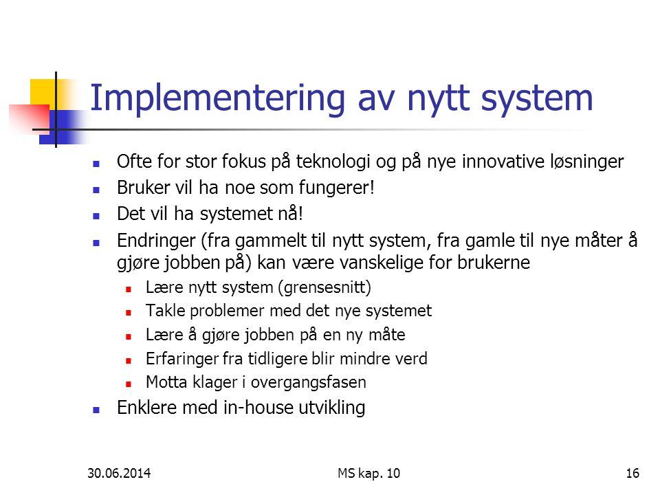 Implementering av nytt system