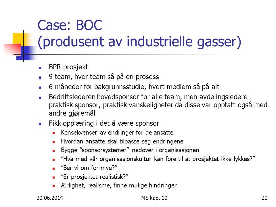Case: BOC (produsent av industrielle gasser)