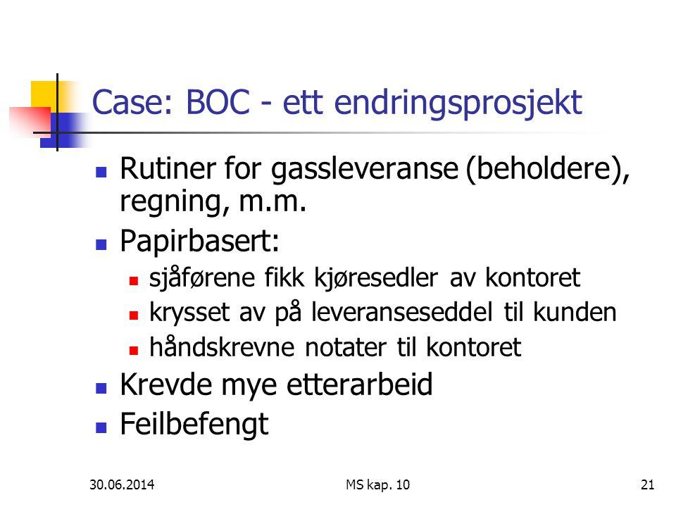 Case: BOC - ett endringsprosjekt