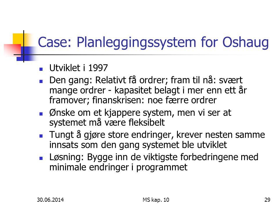 Case: Planleggingssystem for Oshaug