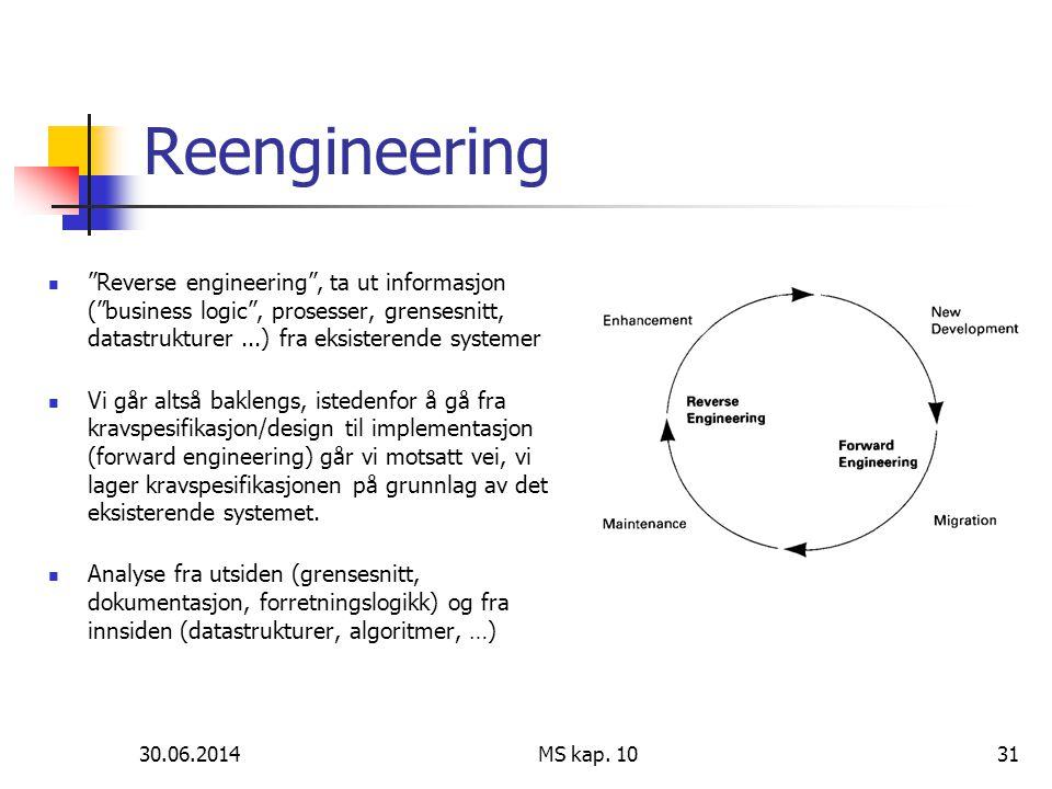 Reengineering Reverse engineering , ta ut informasjon ( business logic , prosesser, grensesnitt, datastrukturer ...) fra eksisterende systemer.