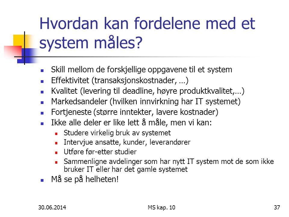 Hvordan kan fordelene med et system måles