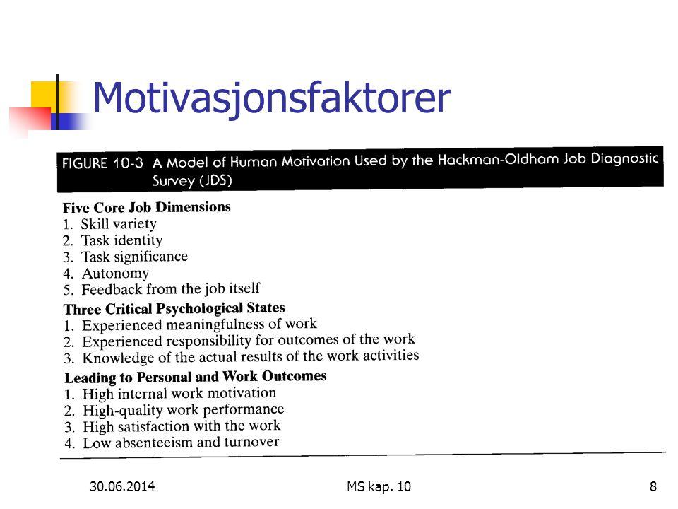 Motivasjonsfaktorer 03.04.2017 MS kap. 10