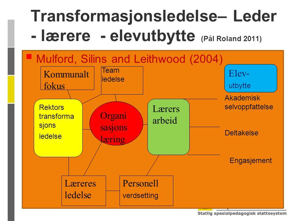 Transformasjonsledelse– Leder - lærere - elevutbytte (Pål Roland 2011)