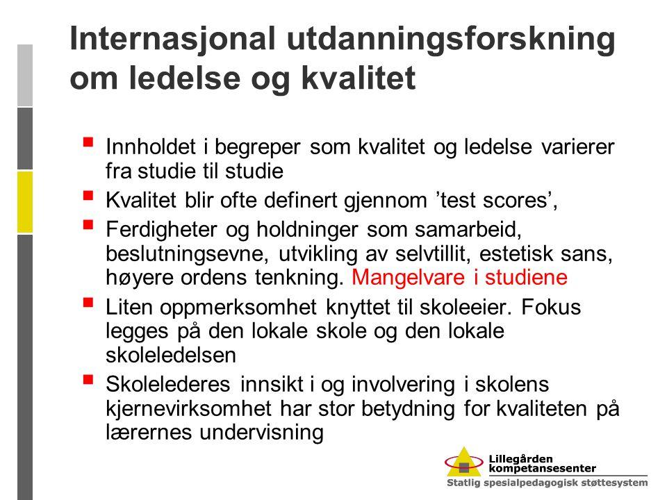 Internasjonal utdanningsforskning om ledelse og kvalitet