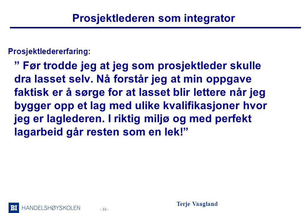 Prosjektlederen som integrator