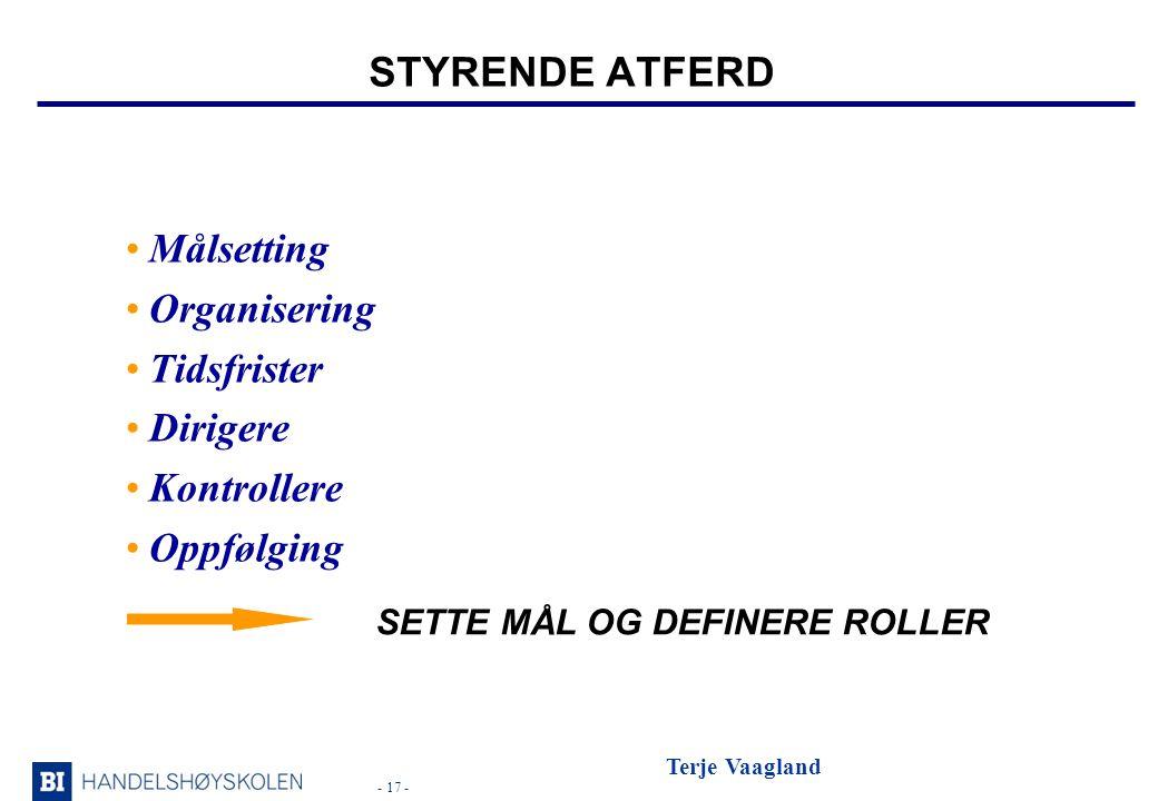 STYRENDE ATFERD Målsetting Organisering Tidsfrister Dirigere