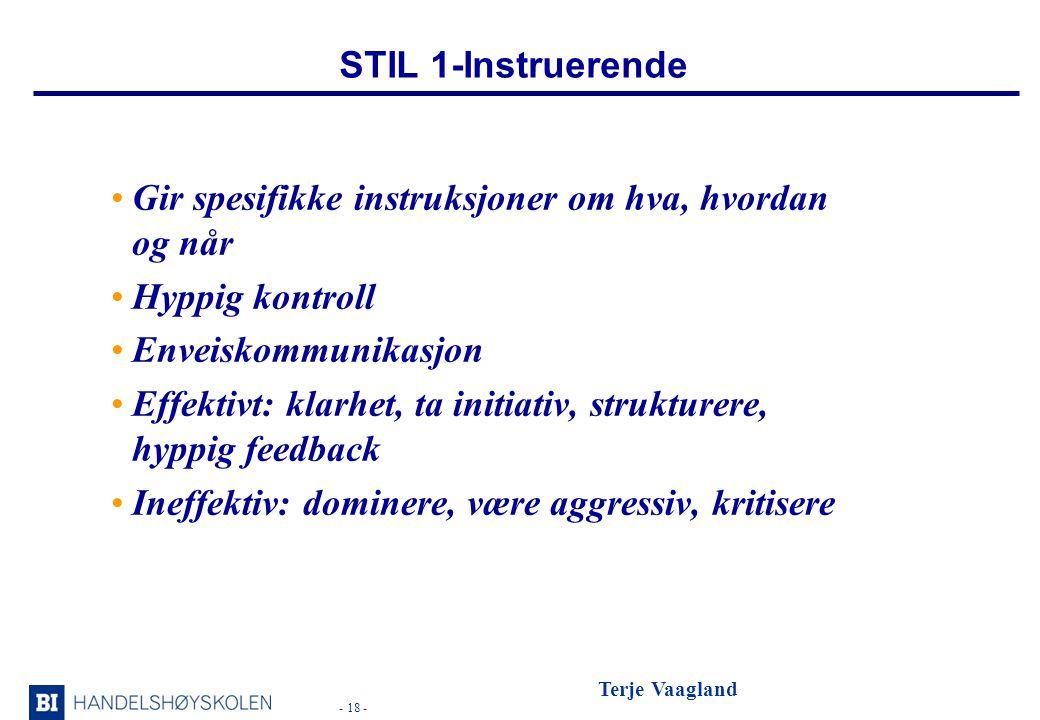 STIL 1-Instruerende Gir spesifikke instruksjoner om hva, hvordan og når. Hyppig kontroll. Enveiskommunikasjon.
