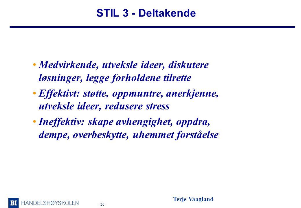 STIL 3 - Deltakende Medvirkende, utveksle ideer, diskutere løsninger, legge forholdene tilrette.