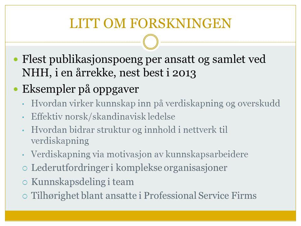 LITT OM FORSKNINGEN Flest publikasjonspoeng per ansatt og samlet ved NHH, i en årrekke, nest best i 2013.
