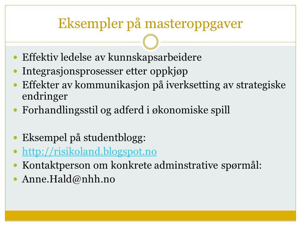 Eksempler på masteroppgaver