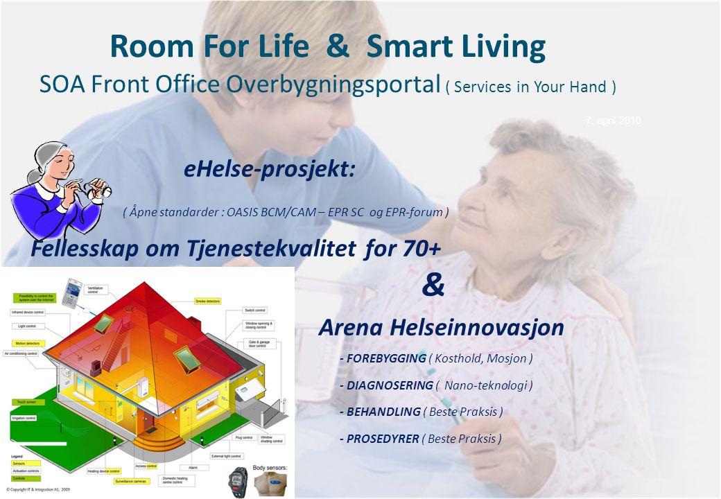7. april 2010 Room For Life & Smart Living SOA Front Office Overbygningsportal ( Services in Your Hand )
