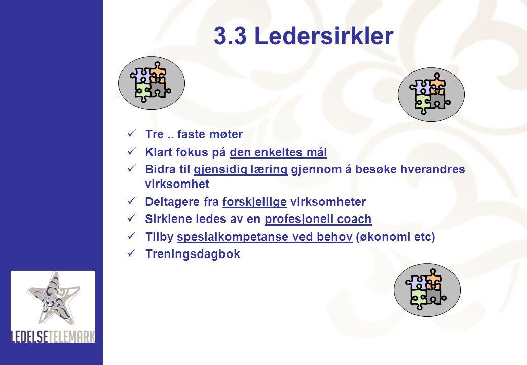 3.3 Ledersirkler Tre .. faste møter Klart fokus på den enkeltes mål