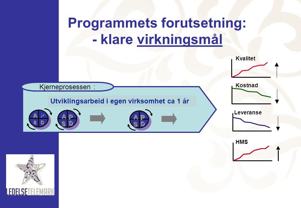 Programmets forutsetning: - klare virkningsmål
