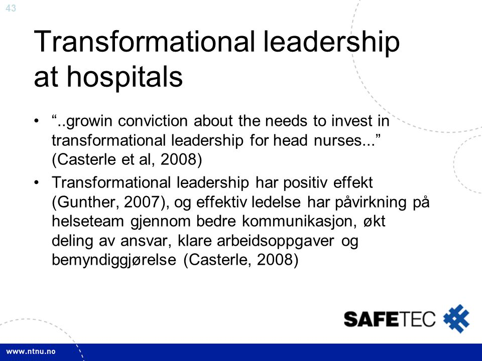 Transformational leadership at hospitals