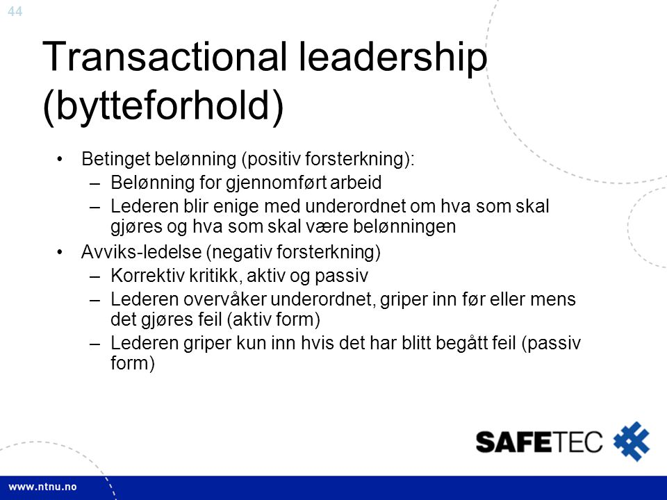 Transactional leadership (bytteforhold)