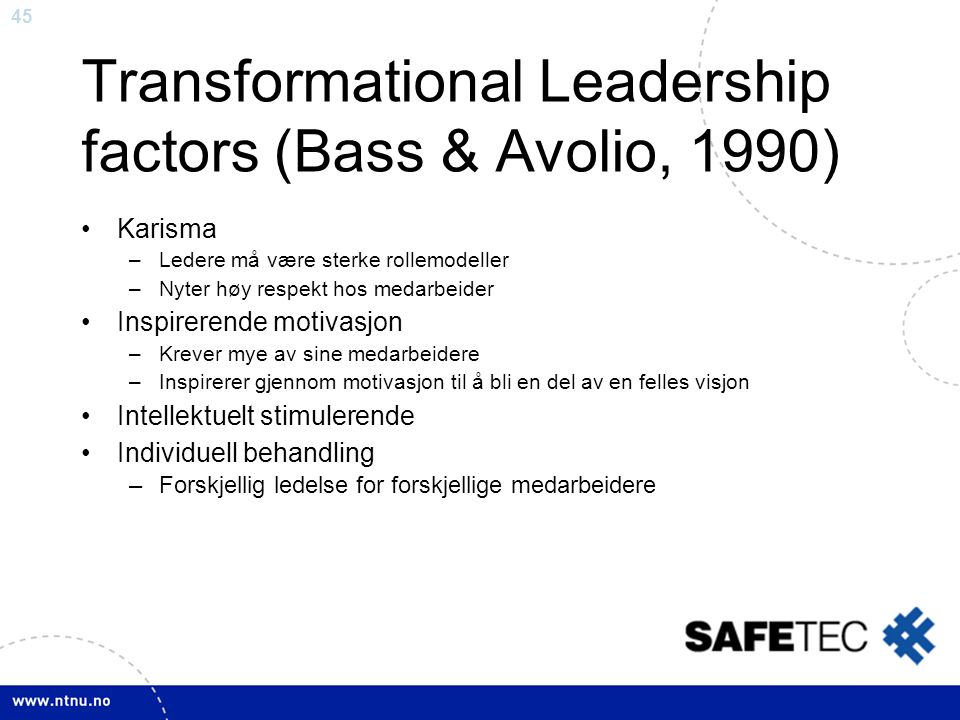 Transformational Leadership factors (Bass & Avolio, 1990)