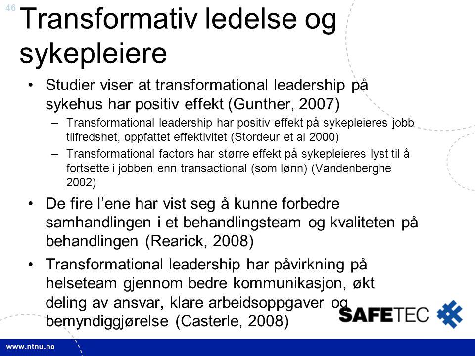 Transformativ ledelse og sykepleiere