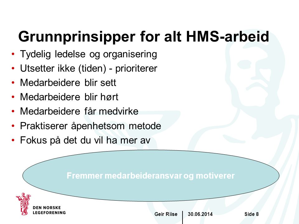 Grunnprinsipper for alt HMS-arbeid