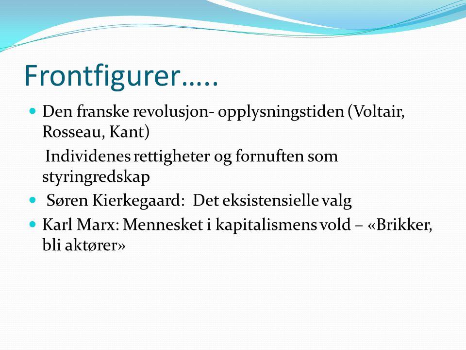 Frontfigurer….. Den franske revolusjon- opplysningstiden (Voltair, Rosseau, Kant) Individenes rettigheter og fornuften som styringredskap.