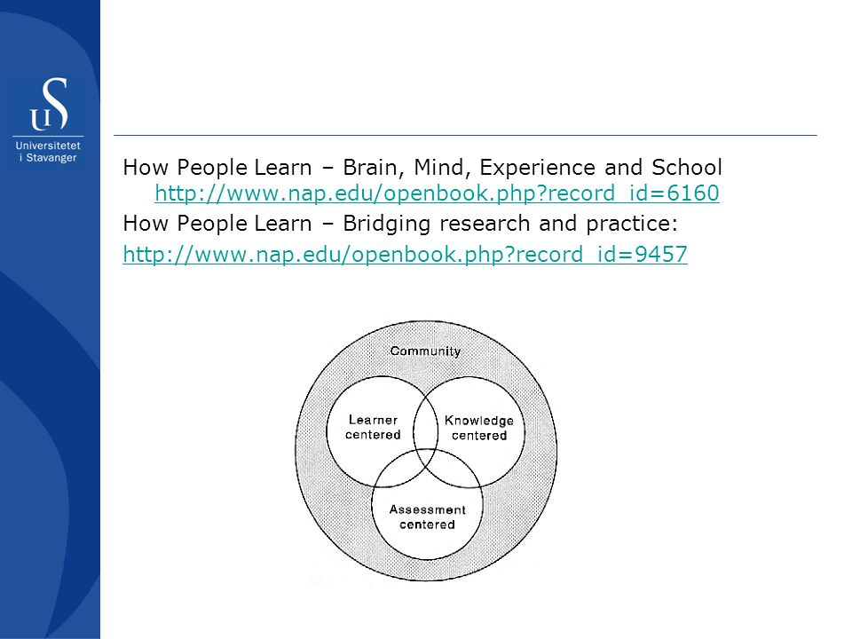 How People Learn – Brain, Mind, Experience and School http://www. nap