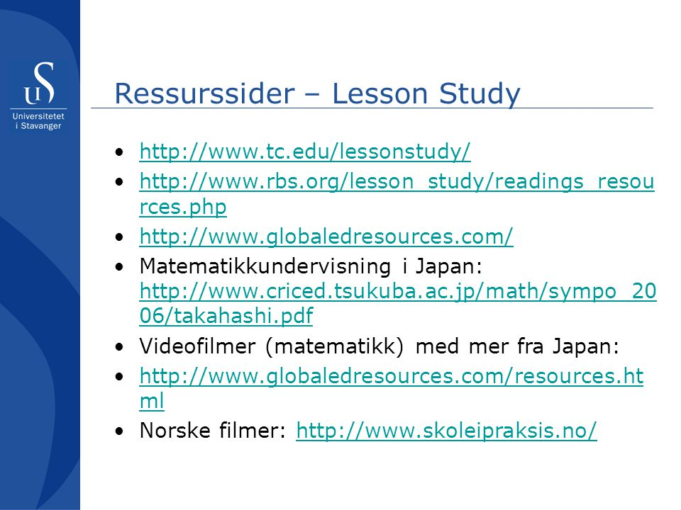Ressurssider – Lesson Study