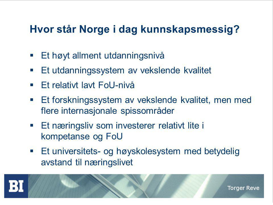 Hvor står Norge i dag kunnskapsmessig