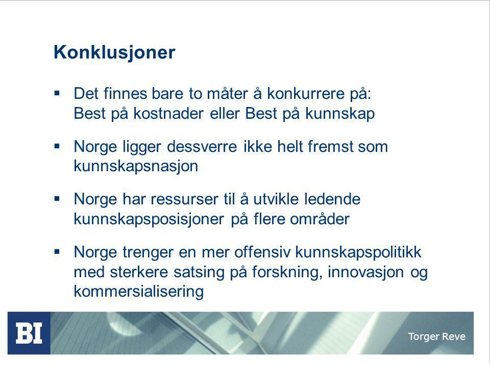Konklusjoner Det finnes bare to måter å konkurrere på: Best på kostnader eller Best på kunnskap.