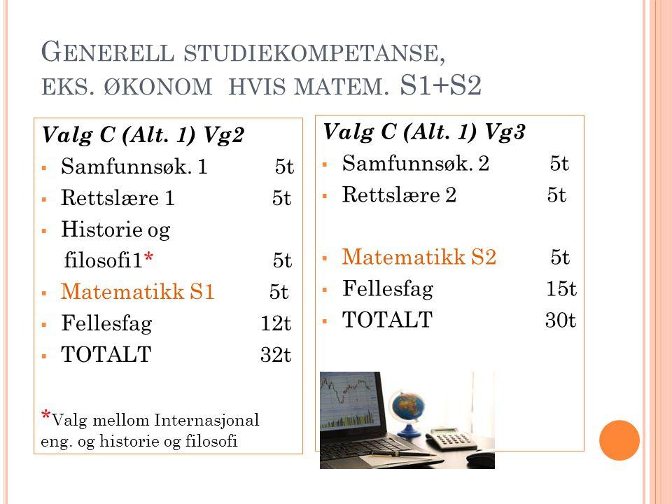 Generell studiekompetanse, eks. økonom hvis matem. S1+S2