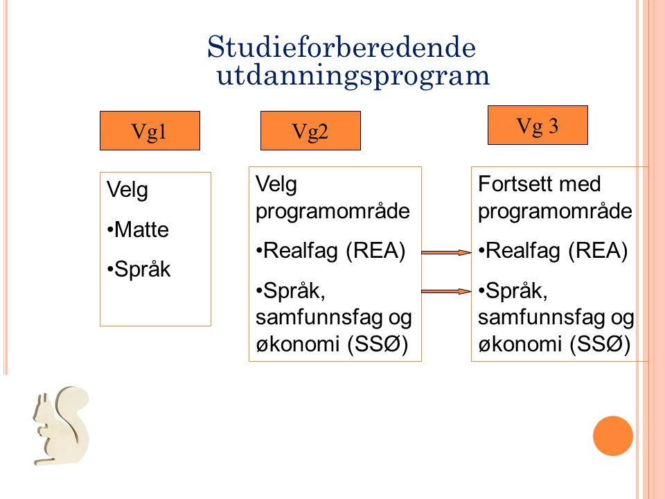 Studieforberedende utdanningsprogram Vg 3 Vg1 Vg2 Velg programområde