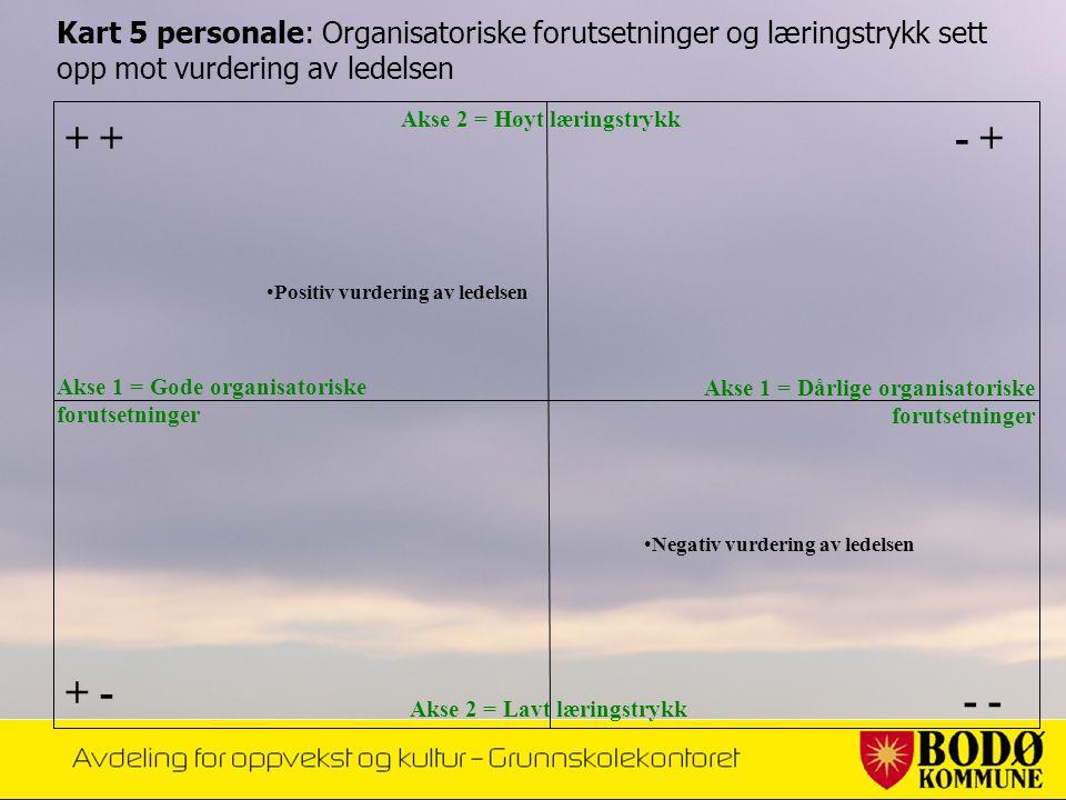 Kart 5 personale: Organisatoriske forutsetninger og læringstrykk sett opp mot vurdering av ledelsen