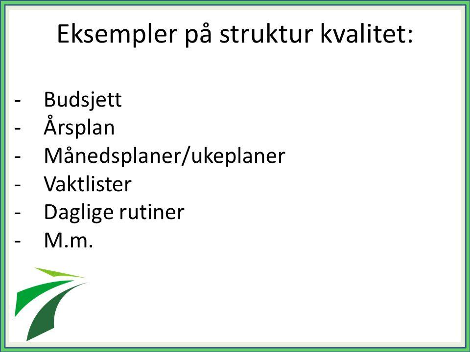 Eksempler på struktur kvalitet: