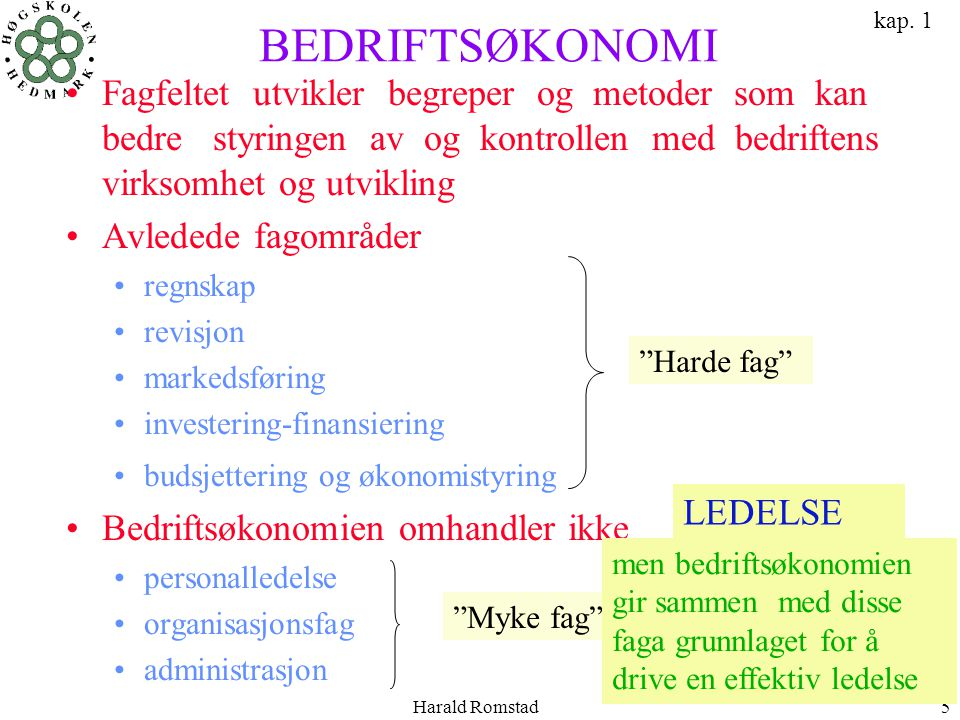 kap. 1 BEDRIFTSØKONOMI.