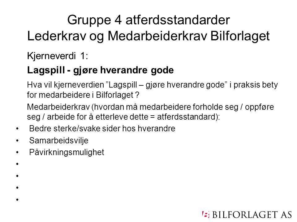 Gruppe 4 atferdsstandarder Lederkrav og Medarbeiderkrav Bilforlaget